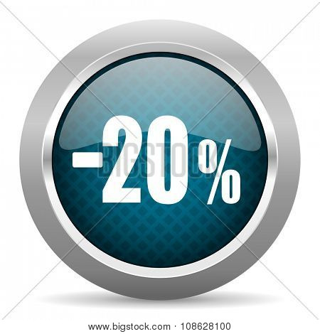 20 percent sale retail blue silver chrome border icon on white background