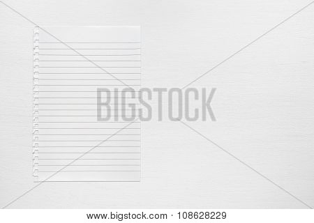 Sheet Of Paper On White Table Top View