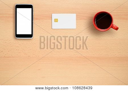Credit Card Mock-up, Smartphone And Coffee Cup On Office Desk
