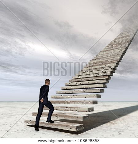 Conceptual 3D business man walking or climbing stair on sky background with clouds metaphor to success, climb, business, rise, achievement, growth, job, career, leadership, education, goal or future