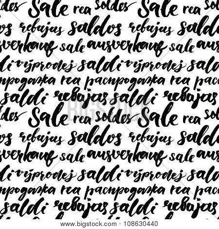 Sale text background, black and white handwritten words sale in different languages: french, spanish