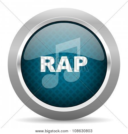 rap music blue silver chrome border icon on white background