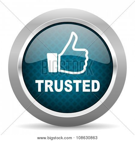 trusted blue silver chrome border icon on white background