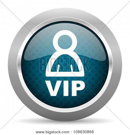 vip blue silver chrome border icon on white background