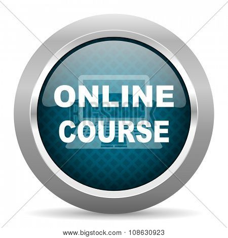 online course blue silver chrome border icon on white background