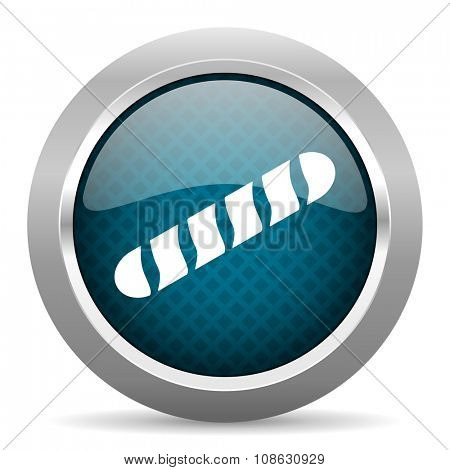 baguette blue silver chrome border icon on white background