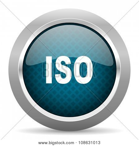 iso blue silver chrome border icon on white background