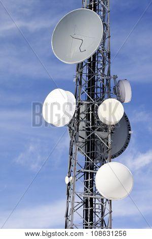 Satellite Dishes Against Blue Sky
