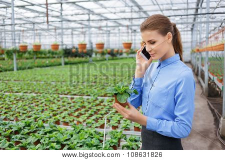 Pleasant greenhouse owner controlling her business