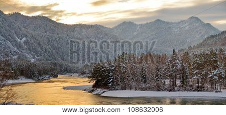 Katun River In The Winter At Dawn