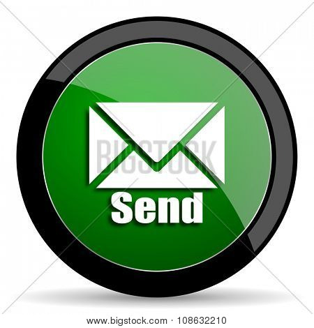 send green web glossy circle icon on white background