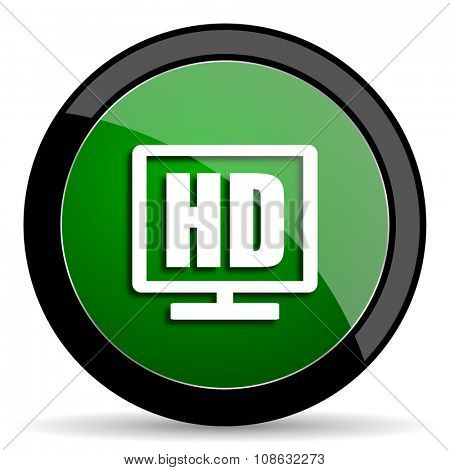 hd display green web glossy circle icon on white background