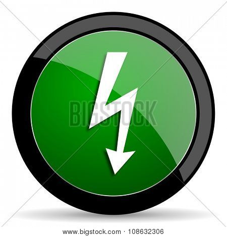 bolt green web glossy circle icon on white background
