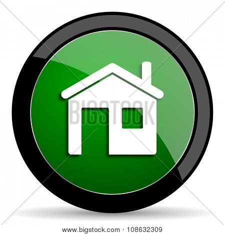 house green web glossy circle icon on white background