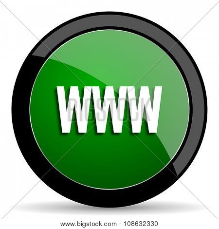 www green web glossy circle icon on white background
