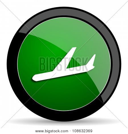 arrivals green web glossy circle icon on white background