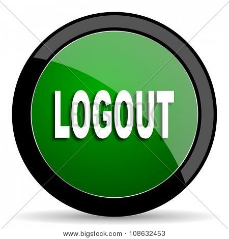 logout green web glossy circle icon on white background