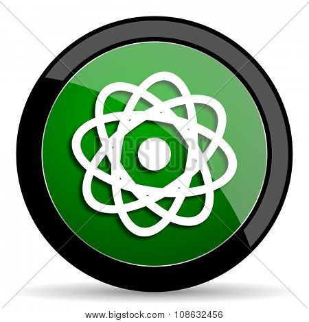 atom green web glossy circle icon on white background
