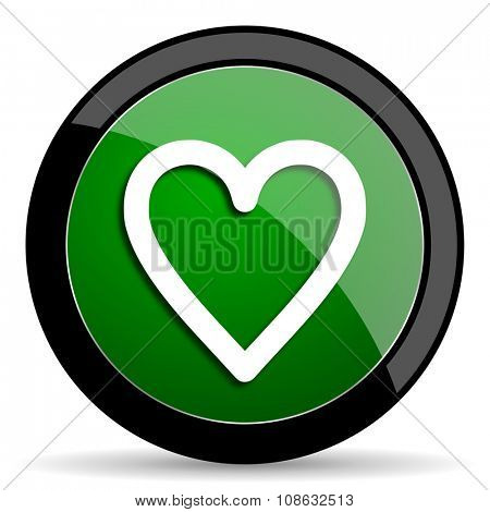 heart green web glossy circle icon on white background