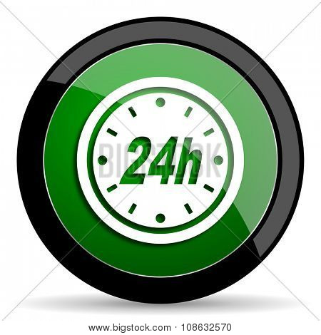 24h green web glossy circle icon on white background