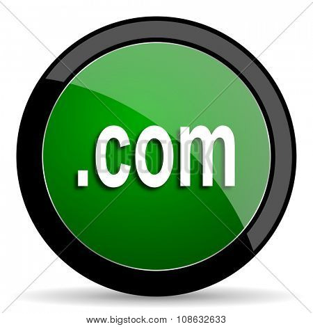 com green web glossy circle icon on white background