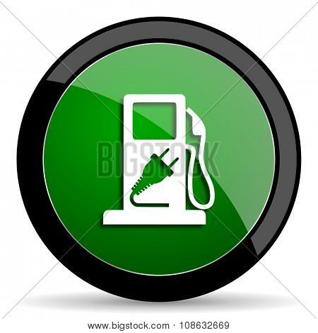 fuel green web glossy circle icon on white background