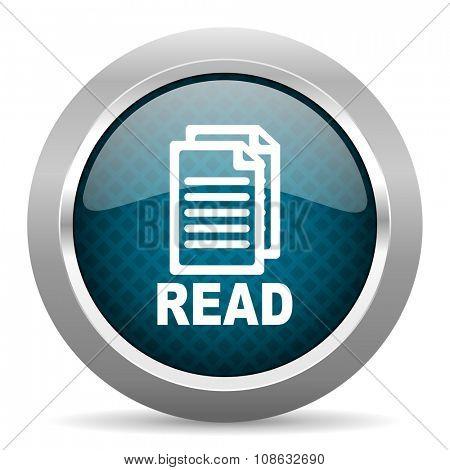 read blue silver chrome border icon on white background