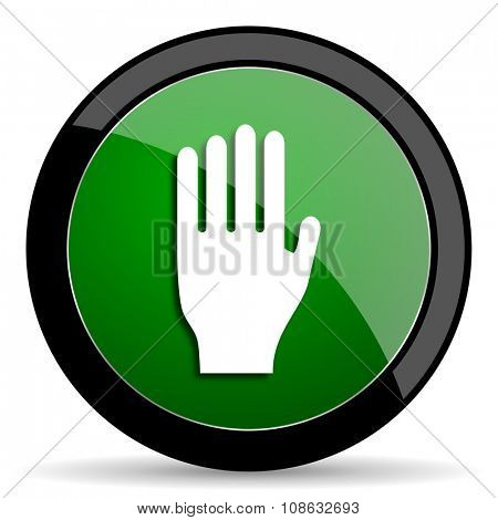 stop green web glossy circle icon on white background