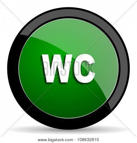 toilet green web glossy circle icon on white background