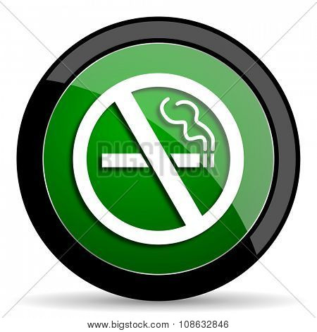 no smoking green web glossy circle icon on white background