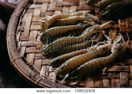 Raw Mantis Prawn Close Up At Asian Street Market