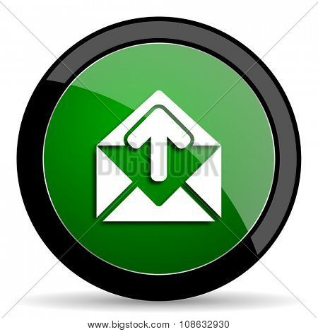 email green web glossy circle icon on white background