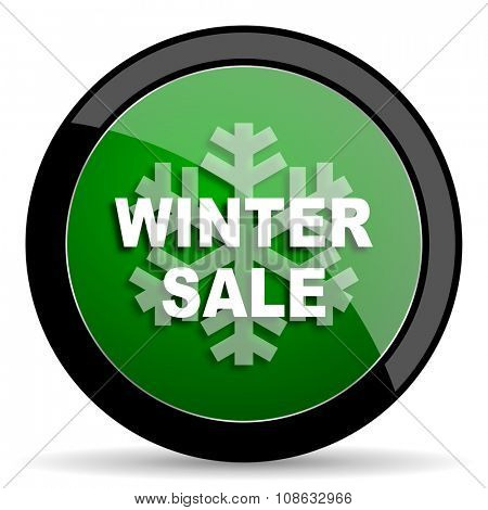 winter sale green web glossy circle icon on white background