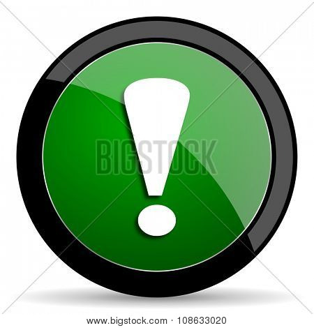 exclamation sign green web glossy circle icon on white background
