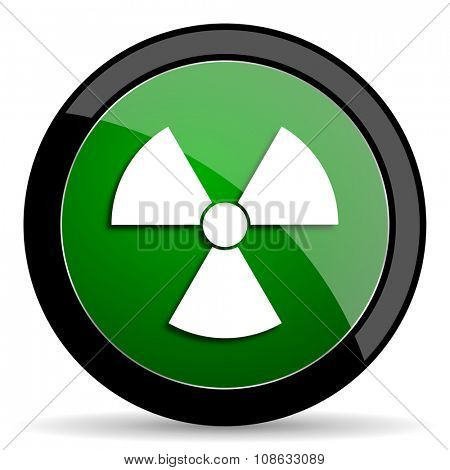 radiation green web glossy circle icon on white background
