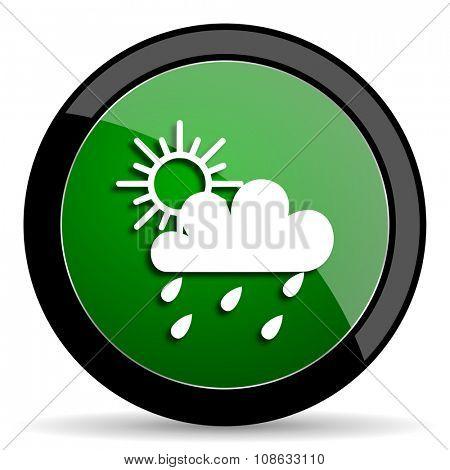 rain green web glossy circle icon on white background