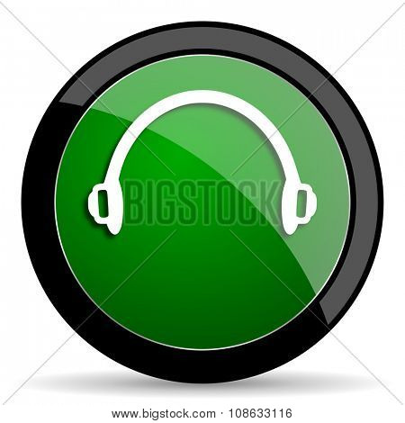headphones green web glossy circle icon on white background