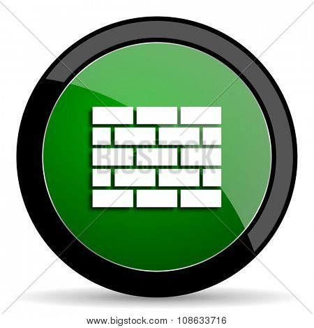 firewall green web glossy circle icon on white background