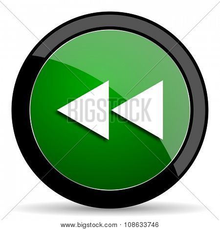 rewind green web glossy circle icon on white background