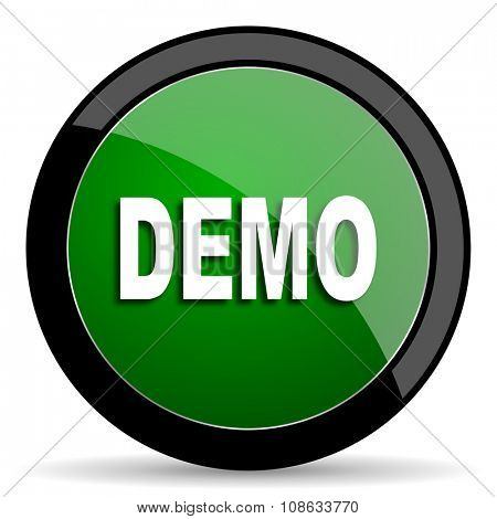 demo green web glossy circle icon on white background