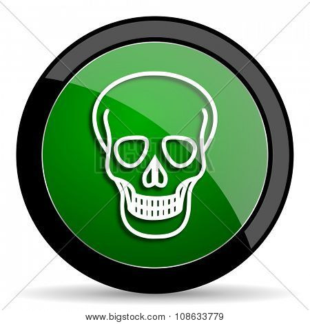 skull green web glossy circle icon on white background