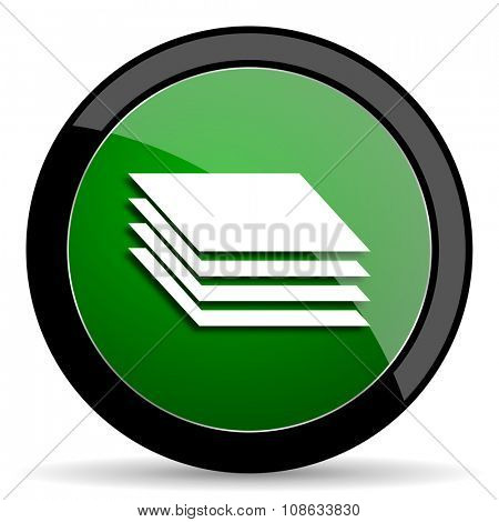 layers green web glossy circle icon on white background