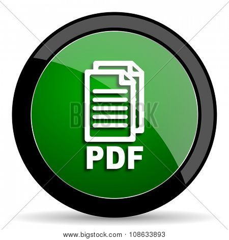 pdf green web glossy circle icon on white background ,