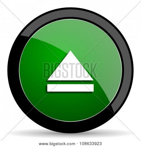 eject green web glossy circle icon on white background