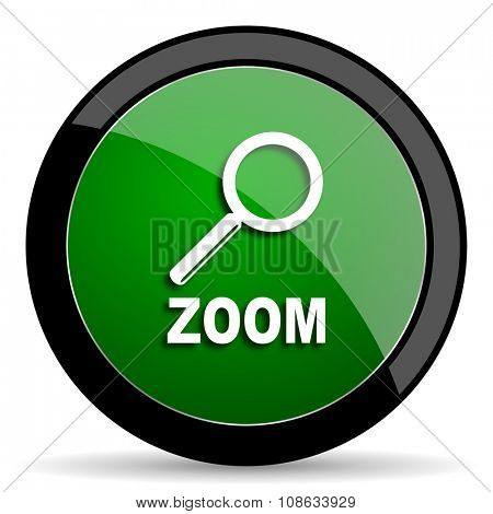 zoom green web glossy circle icon on white background