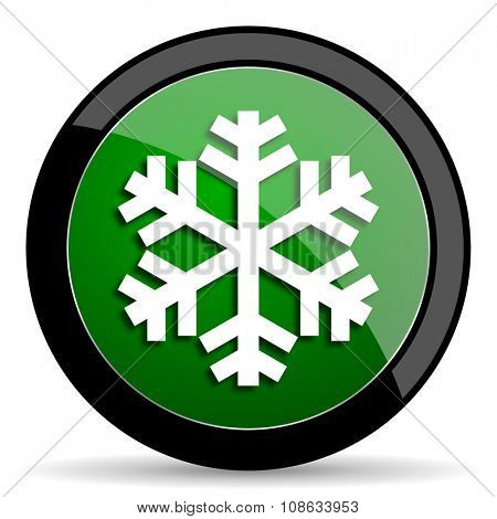 snow green web glossy circle icon on white background