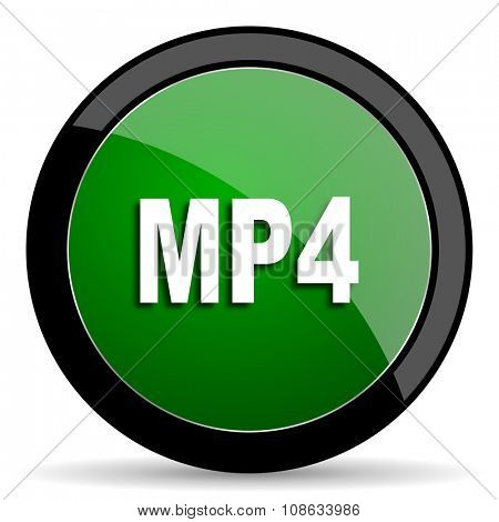 mp4 green web glossy circle icon on white background