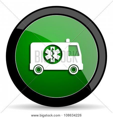ambulance green web glossy circle icon on white background