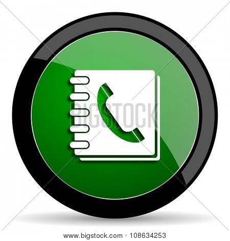 phonebook green web glossy circle icon on white background