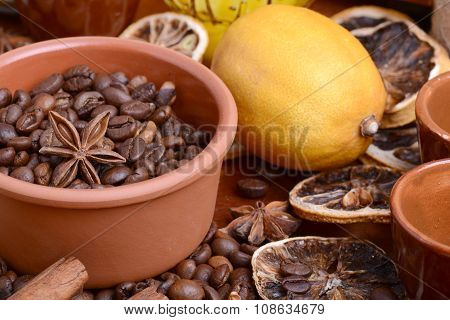 Coffee Beans, Old Lemon, Cinnamon And Aroma Spice